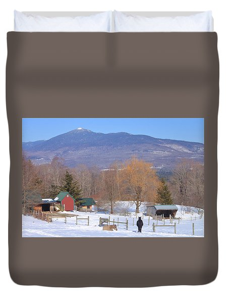 Mount Abraham And Winter Farm Green Mountains Duvet Cover by John Burk