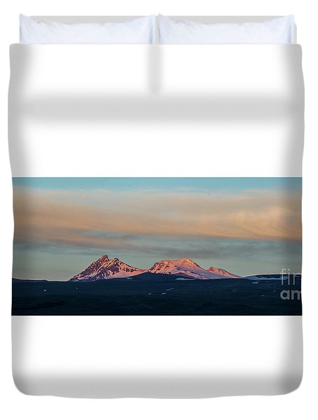 Mount Aragats, The Highest Mountain Of Armenia, At Sunset Under Beautiful Clouds Duvet Cover by Gurgen Bakhshetsyan