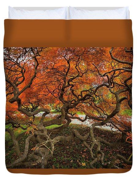 Mount Auburn Cemetery Beautiful Japanese Maple Tree Orange Autumn Colors Branches Duvet Cover