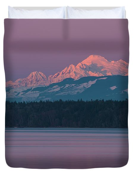 Mount Baker Alpenglow Tranquility Duvet Cover