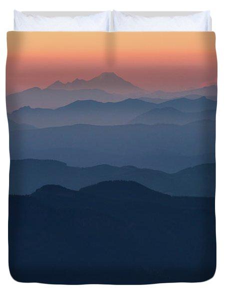 Mount Baker Sunset Landscape Layers Closer Duvet Cover