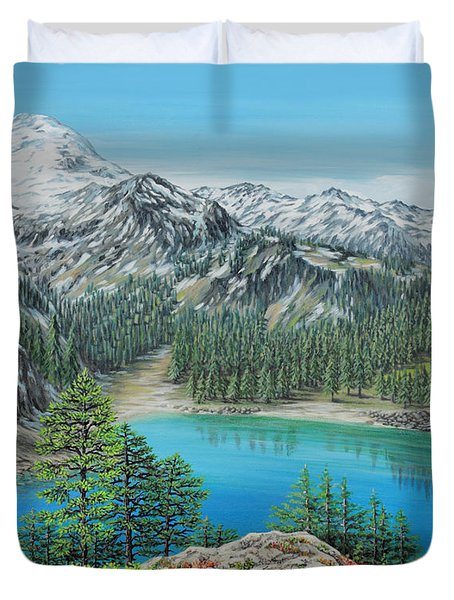 Duvet Cover featuring the painting Mount Baker Wilderness by Jane Girardot