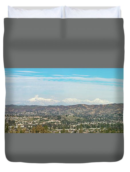Mount Baldy And Mountain High Duvet Cover by Angela A Stanton