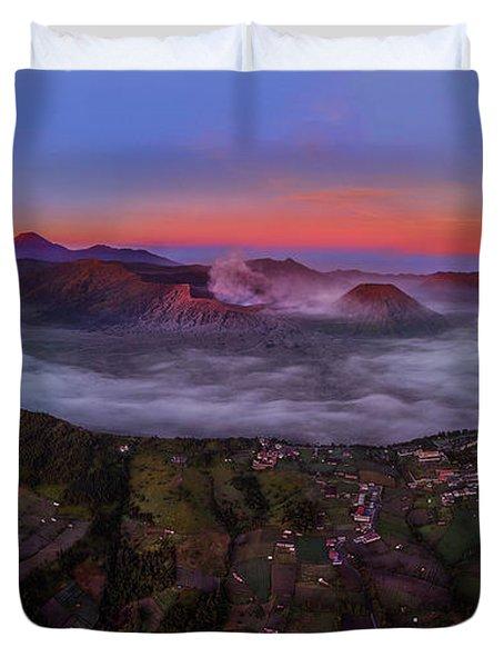 Duvet Cover featuring the photograph Mount Bromo Misty Sunrise by Pradeep Raja Prints