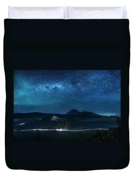 Duvet Cover featuring the photograph Mount Bromo Resting Under Million Stars by Pradeep Raja Prints