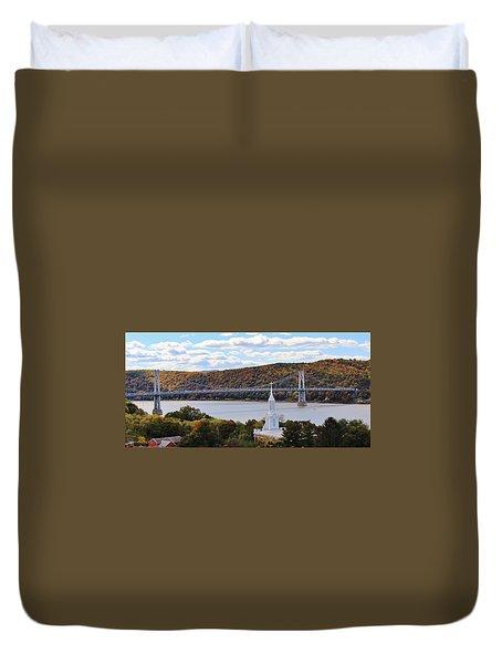 Mount Carmel And The Mid Hudson Bridge Duvet Cover