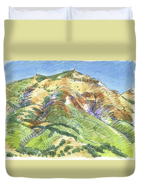 Mount Diablo From Curry Valley Ridge Duvet Cover