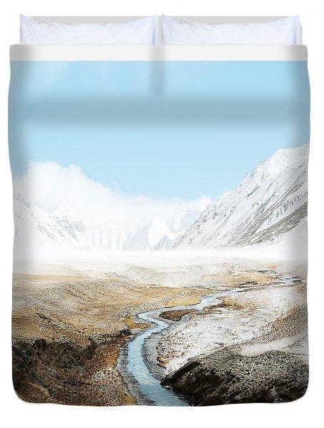 Duvet Cover featuring the photograph Mount Everest  by Setsiri Silapasuwanchai