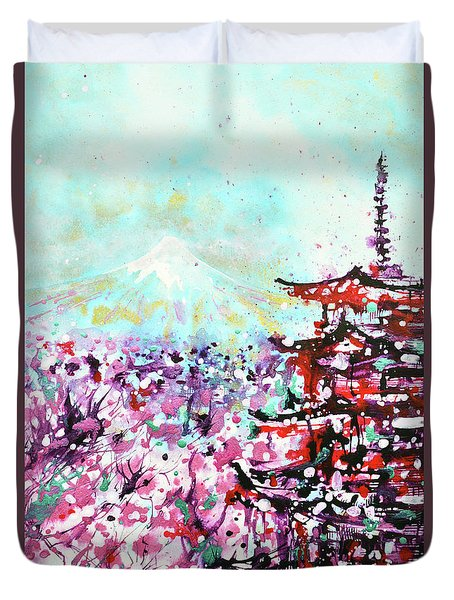 Duvet Cover featuring the painting Mount Fuji And The Chureito Pagoda In Spring by Zaira Dzhaubaeva