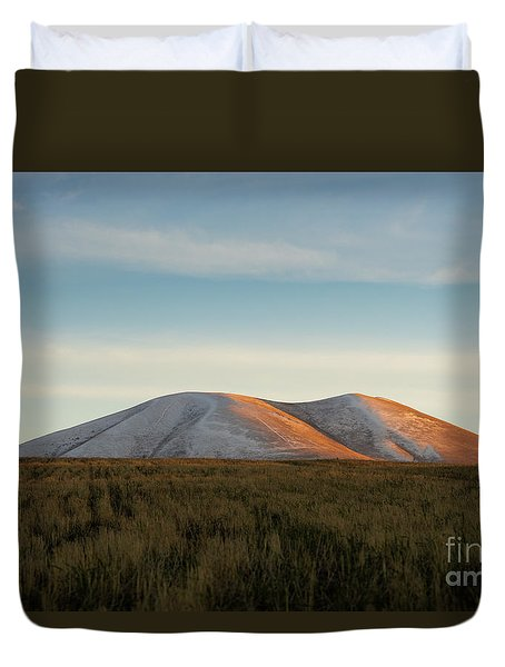 Mount Gutanasar In Front Of Wheat Field At Sunset, Armenia Duvet Cover