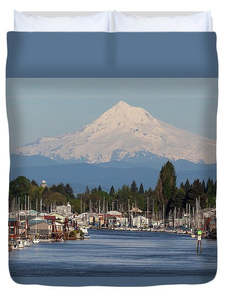 Mount Hood And Columbia River House Boats Duvet Cover by David Gn