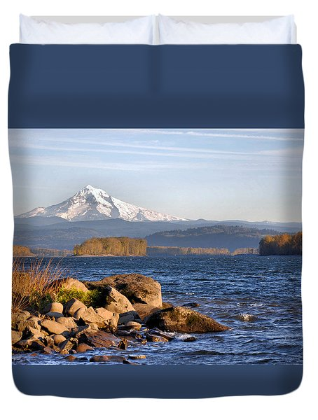 Duvet Cover featuring the photograph Mount Hood And The Columbia River by Jim Walls PhotoArtist