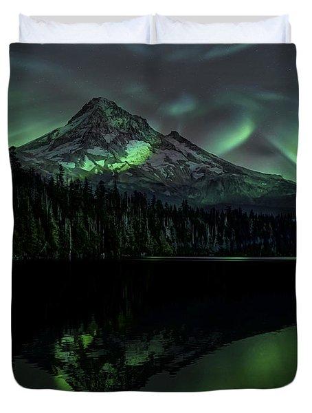 Mount Hood Aurora Borealis I Duvet Cover