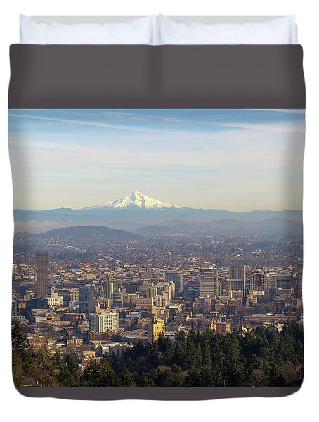 Mount Hood Over City Of Portland Oregon Duvet Cover by David Gn