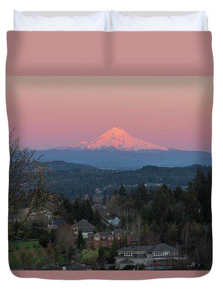 Mount Hood Over Happy Valley Oregon Duvet Cover