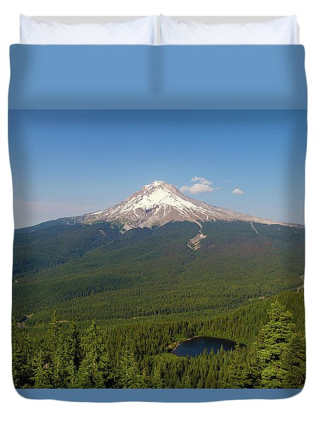 Mount Hood Over Mirror Lake Duvet Cover by David Gn