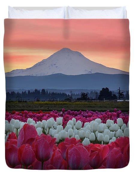 Mount Hood Sunrise With Tulips Duvet Cover