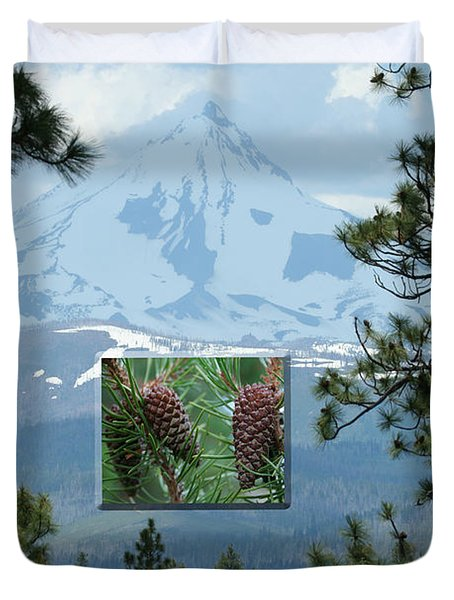 Mount Jefferson With Pines Duvet Cover by Laddie Halupa
