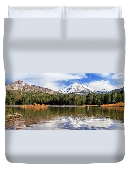 Duvet Cover featuring the photograph Mount Lassen Autumn Panorama by James Eddy