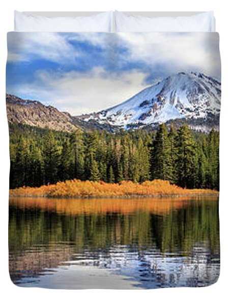 Mount Lassen Reflections Panorama Duvet Cover