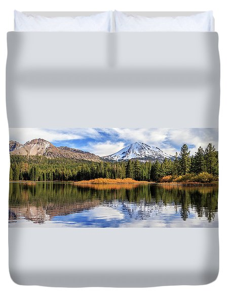 Mount Lassen Reflections Panorama Duvet Cover by James Eddy