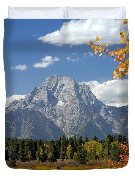 Mount Moran In Autumn Duvet Cover by Larry Ricker