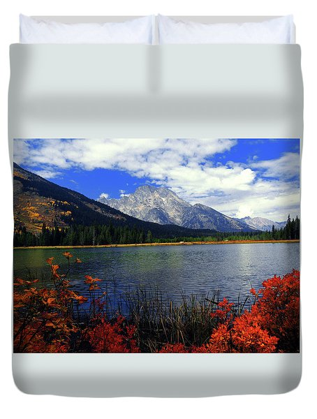 Duvet Cover featuring the photograph Mount Moran In The Fall by Raymond Salani III