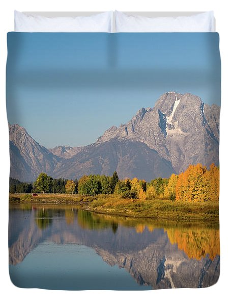 Duvet Cover featuring the photograph Mount Moran by Steve Stuller