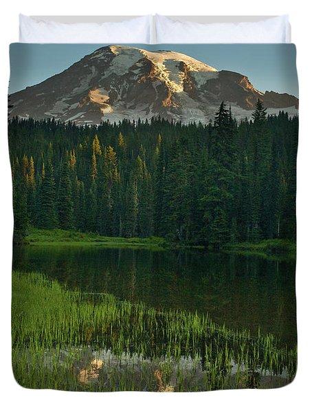 Mount Rainier Dawn Reflection Duvet Cover