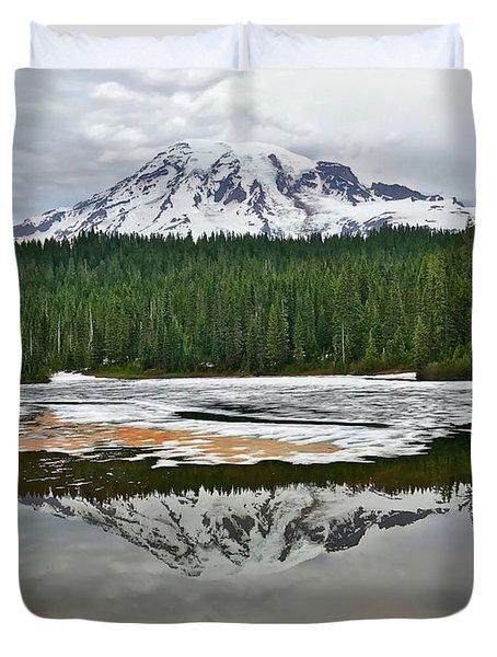 Mount Rainier From Reflection Lakes Duvet Cover
