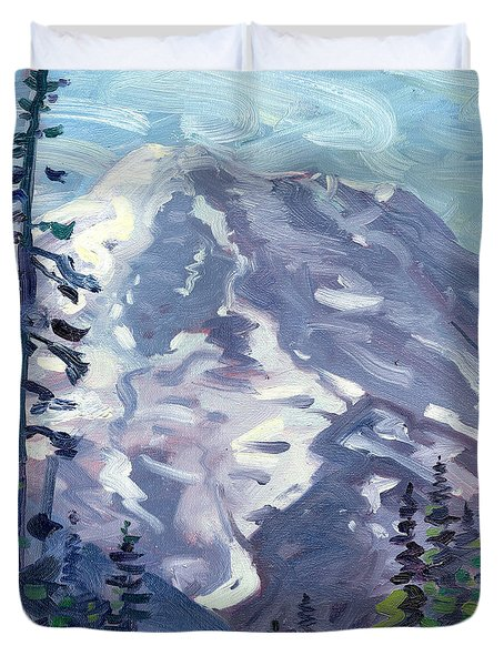Duvet Cover featuring the painting Mount Rainier From Sunrise Point by Donald Maier