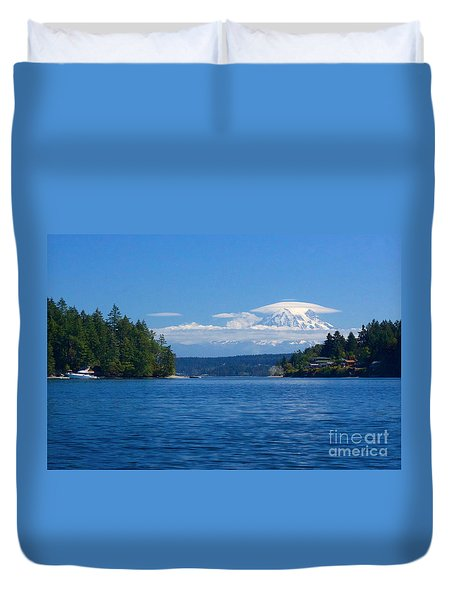 Mount Rainier Lenticular Duvet Cover by Sean Griffin