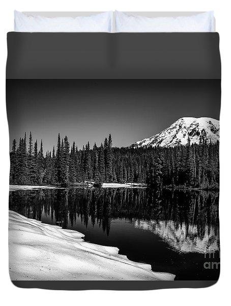 Mount Rainier Reflection Duvet Cover