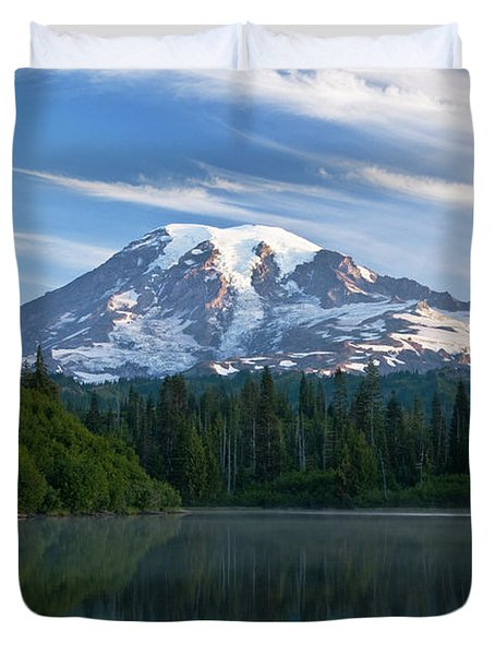 Mount Rainier Reflections Duvet Cover