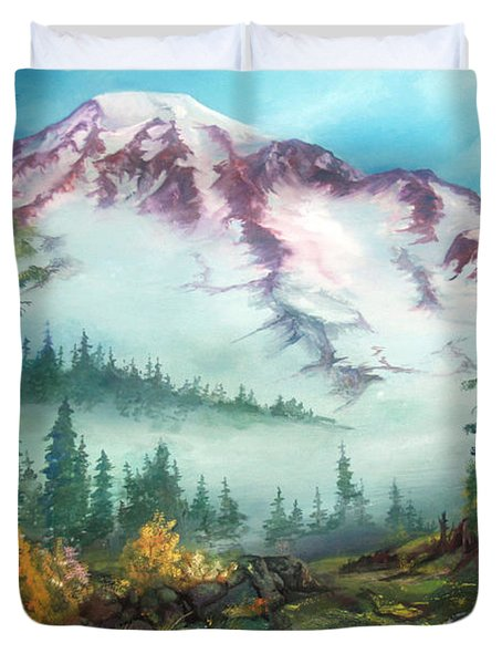 Duvet Cover featuring the painting Mount Rainier by Sherry Shipley