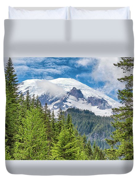Duvet Cover featuring the photograph Mount Rainier View by Stephen Stookey