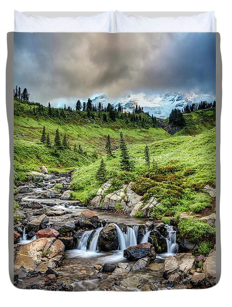 Duvet Cover featuring the photograph Mount Rainier's Edith Creek by Pierre Leclerc Photography