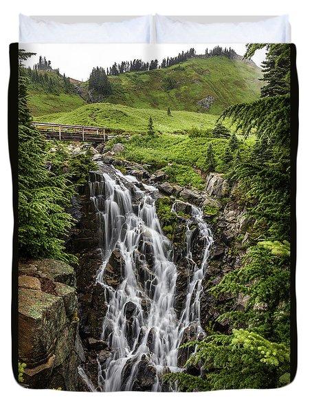 Duvet Cover featuring the photograph Mount Rainier's Myrtle Falls by Pierre Leclerc Photography