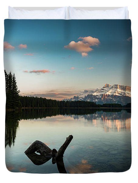 Mount Rundle And Two Jack Lake Duvet Cover