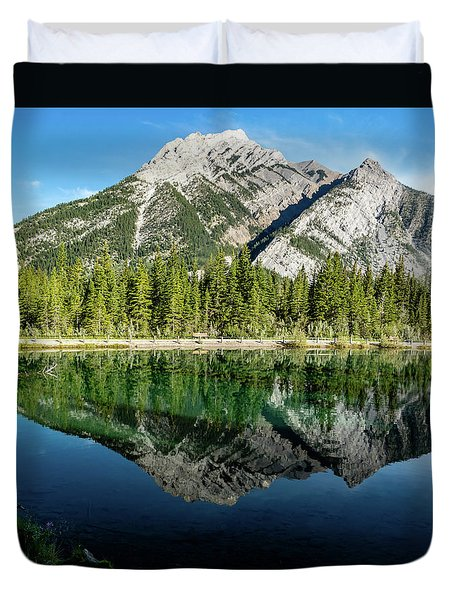 Mount Skogan Reflected In Mount Lorette Ponds, Bow Valley Provin Duvet Cover