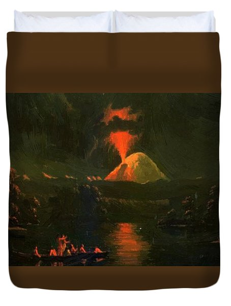 Mount St Helens Erupting At Night Duvet Cover