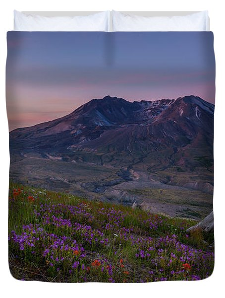 Mount St Helens Spring Colors Duvet Cover