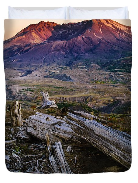 Mount St. Helens Sunset Duvet Cover by Greg Vaughn - Printscapes