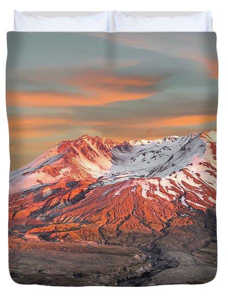 Mount St Helens Sunset Washington State Duvet Cover