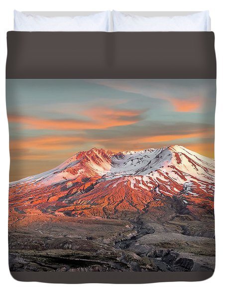 Mount St Helens Sunset Washington State Duvet Cover