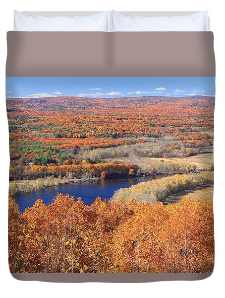 Mount Tom View Of Oxbow In Autumn Duvet Cover