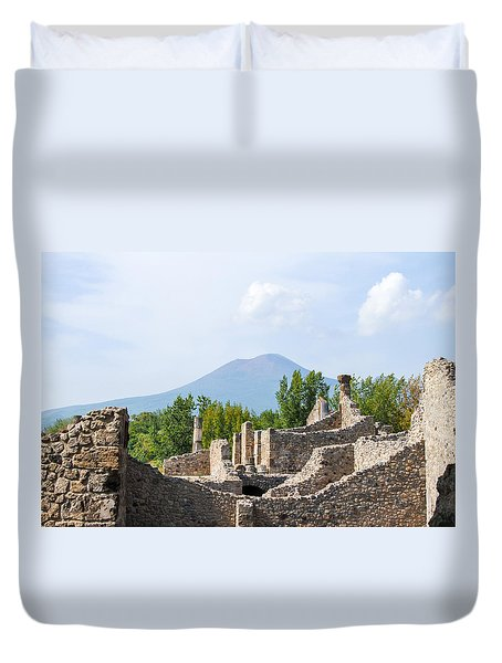 Mount Vesuvius Beyond The Ruins Of Pompei Duvet Cover