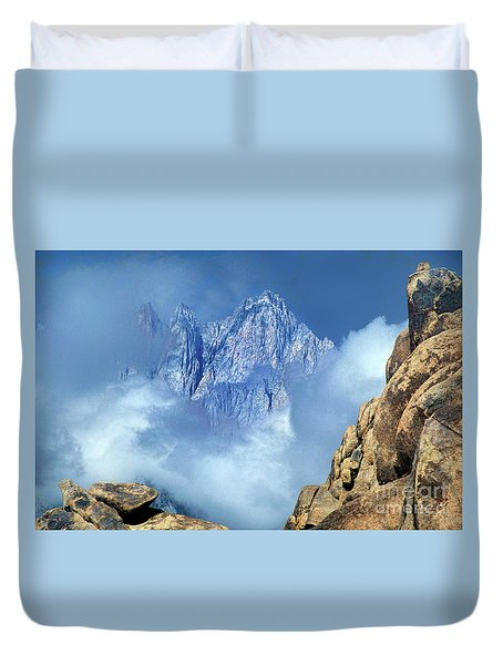 Duvet Cover featuring the photograph Mount Whitney Clearing Storm Eastern Sierras California by Dave Welling