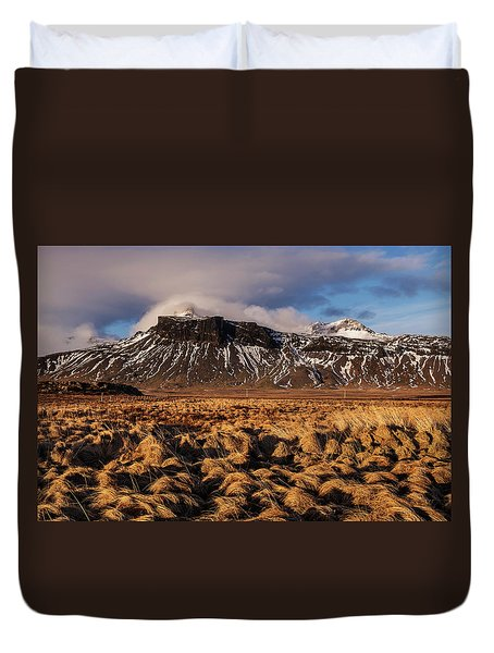 Duvet Cover featuring the photograph Mountain And Land, Iceland by Pradeep Raja Prints
