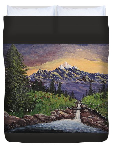 Mountain And Waterfall 2 Duvet Cover
